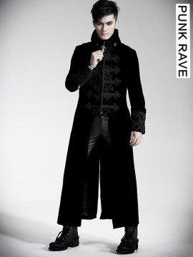 Mens Gothic Palace Court Velveteen Coat - Black
