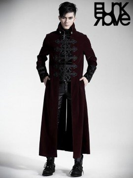 Mens Gothic Palace Court Velveteen Coat - Red