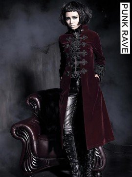 Gothic Palace Court Velveteen Coat - Red