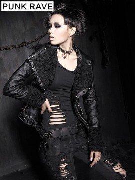 Punk Neutral Fur Leather Hooded Jacket