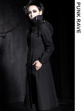 Unisex Gothic Sheep Curl & Spiked Rivet Long Coat