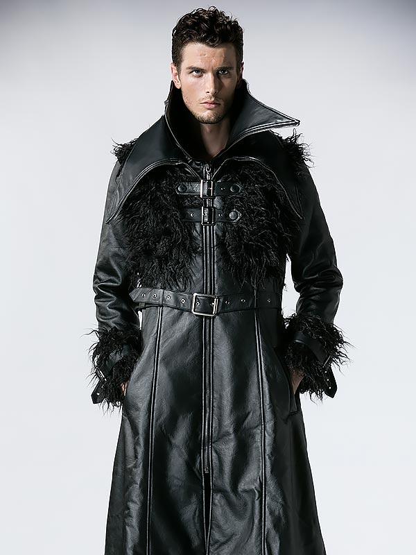 Mens Punk Leather & Wool Curl Long Coat
