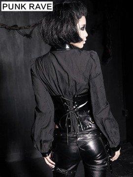 Gothic Shiny Leather Corset Blouse