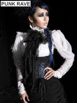 Ladies Gothic Palace Rose Net White Blouse