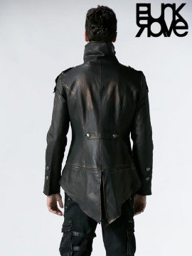 Mens Punk Military Swallow Tail Leather Jacket - Bronze