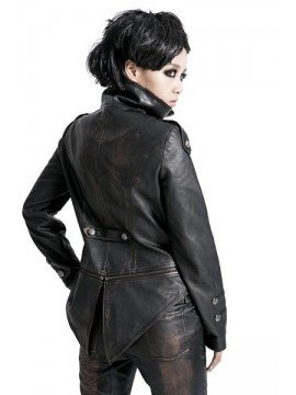 Punk Military Swallow Tail Leather Jacket - Bronze