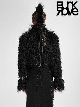Punk Short Crop Furry Jacket - Black
