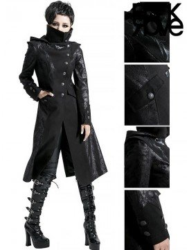 Gothic Witch Long Coat with Detachable Hood