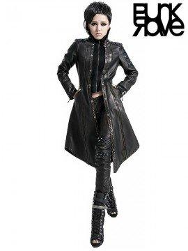 Punk Leather Warrior Long Coat - Bronze