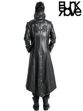 Mens Punk Leather Warrior Long Coat - Bronze