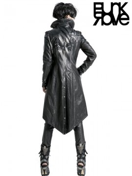 Punk Leather Warrior Long Coat - Silver