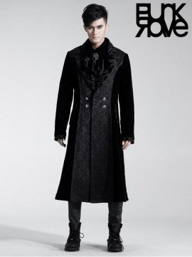 Mens Gothic Two Tone Luxurious Long Coat