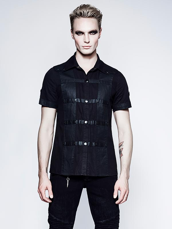 Mens Punk Personality Shirt with Film Lamination