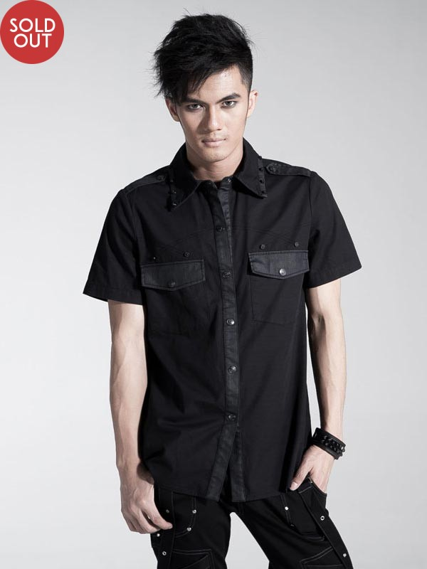 Mens Punk Cone Rivet Short Sleeve Shirt