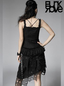 Gothic Drawstring Ruffle Lace Top