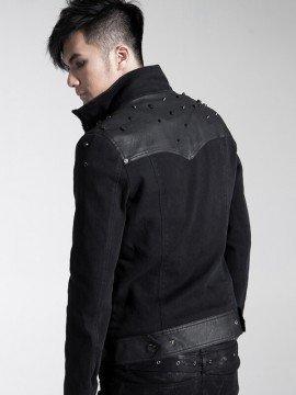 Mens Punk Leather & Rivet Decorated Jacket