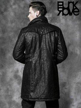 Mens Gothic Cracked Leather Long Jacket