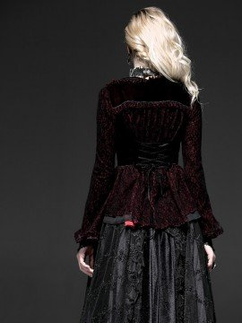 Gothic Two-Tone Long Sleeve Jacket - Red
