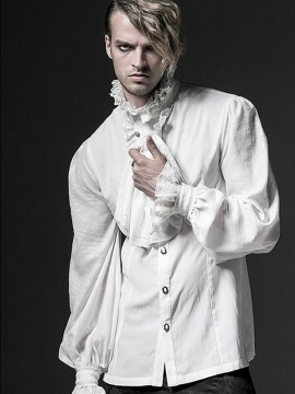 Mens Gothic Long Sleeve Shirt - White