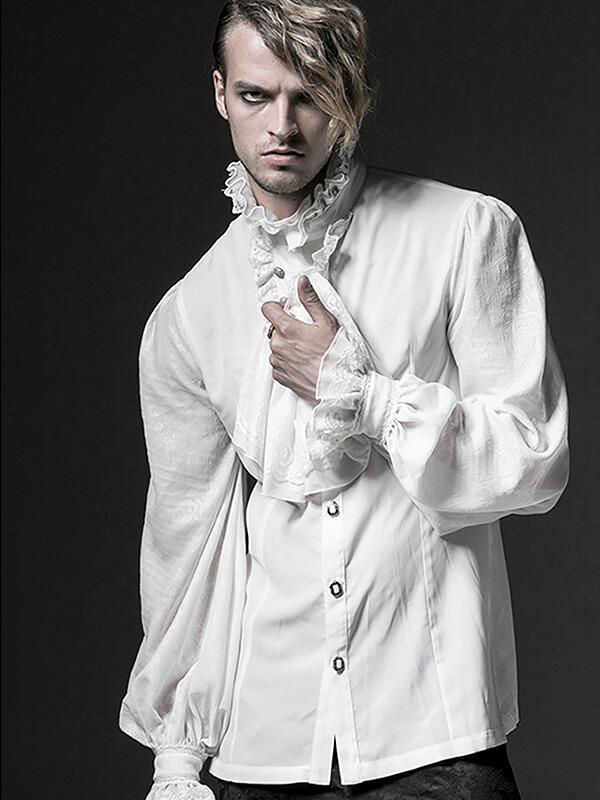 Mens Gothic Long Sleeve Shirt - White
