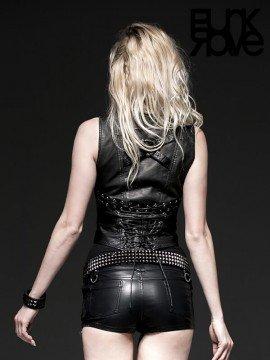 Steampunk Vintage Two Piece Leather Under Bust Vest - Black