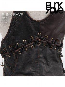 Steampunk Vintage Two-Piece Leather Under Bust Vest - Bronze
