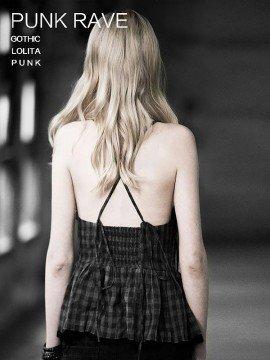 Punk Checkered Camisole Top - Black