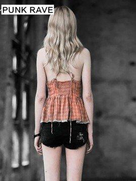 Punk Checkered Camisole Top - Orange