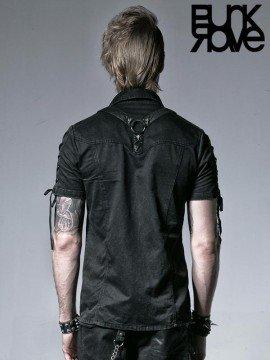 Mens Punk Rope Tie Short Sleeve Shirt