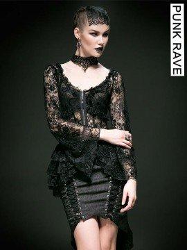 Gothic Lace Retro Shirt - Black