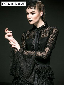 Gothic Cashmere Coat with Trumpet Sleeves