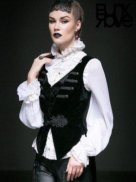 Gothic Swallow Tail Sleeveless Vest - Black