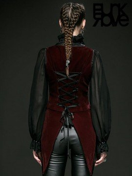 Gothic Swallow Tail Sleeveless Vest - Red