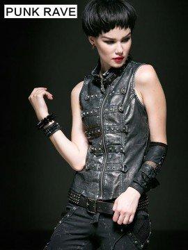 Steampunk Leather Vest - Silver