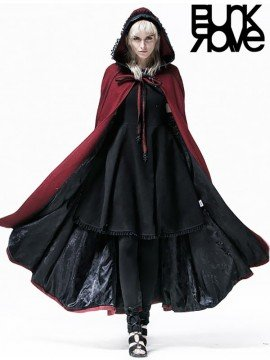 Gothic Red Wine Hooded Cape