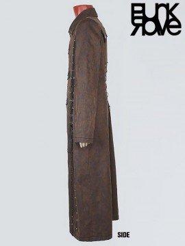 Mens Heavy Metal Punk Vintage Coffee Long Coat