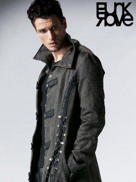 Mens Heavy Metal Punk Vintage Long Coat - Grey