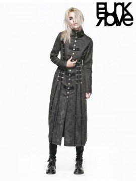 Heavy Metal Punk Vintage Long Coat - Grey