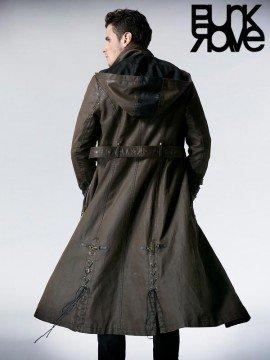 Mens Punk Long Coat with Hood - Coffee