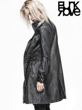 Punk Grey Leather Long Coat