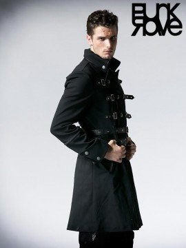 Mens Military Army Style Long Coat