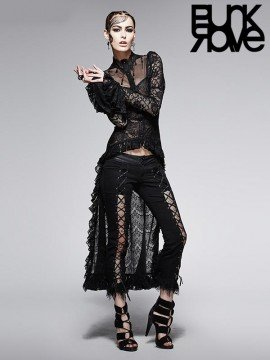 Gothic Lace Shirt with Train