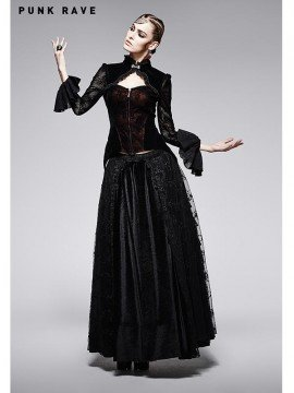 Victorian Gothic Black and Red Lace Coat