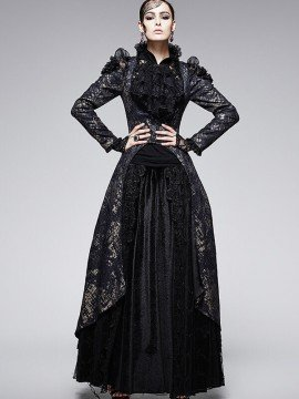 Victorian Gothic Under Bust Long Coat