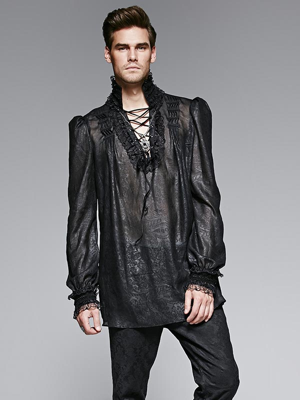 Mens Gothic Embossed Chiffon Shirt - Black