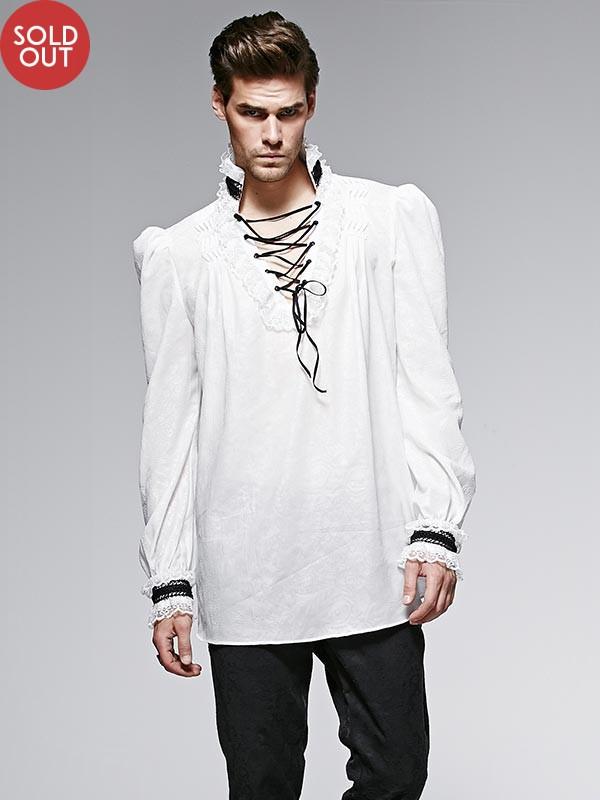 Mens Gothic Embossed Chiffon Shirt - White