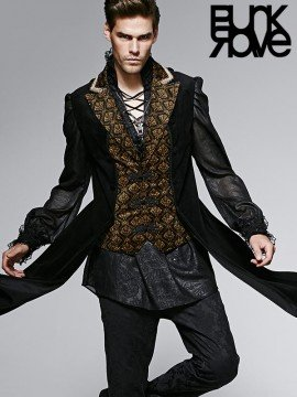 Mens Two-Piece Gothic Black & Gold Long Waistcoat
