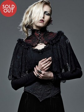 Gothic Victorian Lace Cape - Black & Red