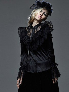 Victorian Gothic Winged Shoulder Lace Shirt