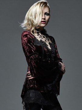 Victorian Gothic Velvet & Lace Shirt -Red